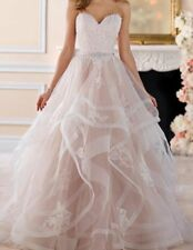 New Champagne Ruffles Wedding Dress Beach Bridal Gown With belt Custom Size