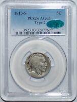 1913 S T2 PCGS AG3 CAC Type 2  Buffalo Nickel