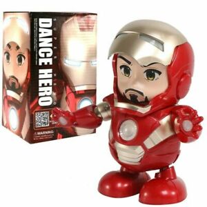 Electric Robot Toy Q Edition Heroic  Iron-Man Dancing Music Light Children Gift