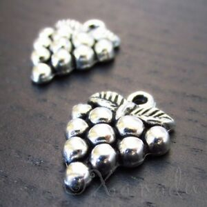 Grape Charms 22mm Antiqued Silver Plated Wine Pendants C2046 - 10, 20 Or 50PCs