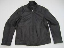 Mens size 48 Hugo Boss Linus Lambskin leather black full zip lined jacket