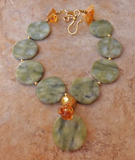 PALE GREEN GENUINE JADE HUGE BEADS TOP GRADE BALTIC AMBER GOLD NECKLACE JEWELRY