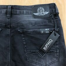 Buffalo Six-X Straight Stretch Jeans Mens 30x36 Black Sanded and Whiskered