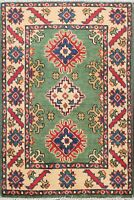 Vegetable Dye Hand-Knotted GREEN Super Kazak Oriental Area Rug WOOL Carpet 2'x3'