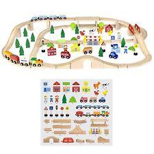 Viga 90 pezzi GIOCATTOLO IN LEGNO PISTA TRENO-Bambini/Bambini Push-Lungo Playset