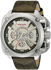 NEW Diesel DZ7367 Men's BAMF Stainless Steel Green Leather Strap Watch