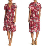 NWT Angie Button Red V-Neck Floral Flutter Sleeve Summer Fall Midi Dress S/M/L