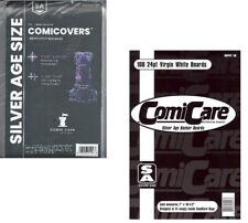 100 Silver Comic Bags Polyethylene and Comic Backing Boards Bcw