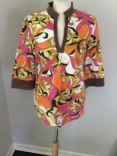 Lilly Pulitzer Newbury Tunic Butterfly Stretch Cotton Pink Brown Orange EUC Sz S