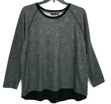 Apt 9  1XL 1 XL Sweater Chiffon Hem Charcoal Gray Embellished Pullover Stretch