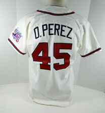 1999 Atlanta Braves Odalis Perez #45 Game Used White Jersey Hank Aaron 715 25 P