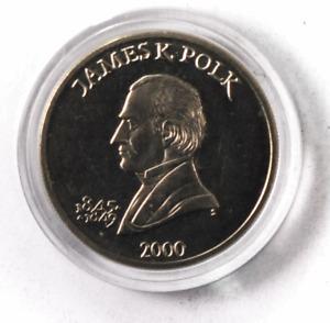 2000 S Liberia $5 Five Dollars Copper Nickel Coin Gem Unc James K Polk