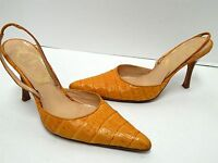 Rene Caovilla 37 6.5M Orange Alligator Leather Slingback Pumps Italy