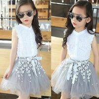 Summer Kids Baby Girls Lace Shirt Tops+Tutu Dress Skirt Outfits Clothes 2PCS Set