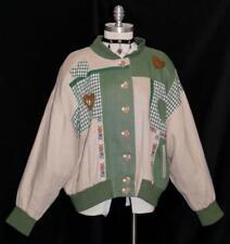 LINEN ~ BEIGE & GREEN German Women Trachten Summer FLOWERS Dress JACKET Coat XL