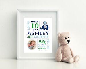 Baby Wall Art, Birth Detail Print, Announcement, Nursery, Keepsake - Boy