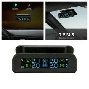 Car TPMS Wireless Solar Tire Pressure Monitoring System LCD + 4 External Sensor