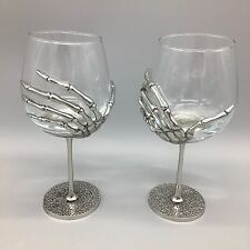 x2 Halloween Skeleton Hand Wine Glass Set Goblet Silver Metal Stem Gothic TMD