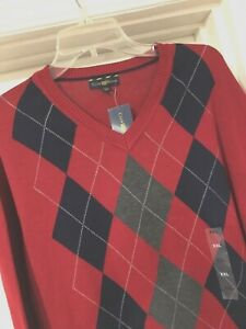 NWT XXL Mens Cotton Burgundy Red Holiday Argyle Pullover V Neck Knit Sweater