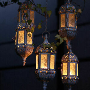 Moroccan Hanging Candle Lantern Retro Hollow Metal Glass Candle Holder Xmas Deco