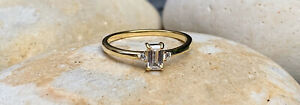 Gold Filled Ring, Emerald Cut Ring, Gold Stackable Ring, Engagement (UK N/ US 7)