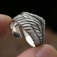 Elegant Women 925 Silver Rings Party Wing Ring Men's Jewelry Size Adjustable