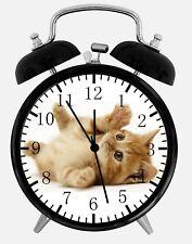 """Cute Kitten Cat Alarm Desk Clock 3.75"""" Home or Office Decor E306 Nice For Gift"""