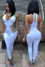 Abito lungo tuta aperto Nudo aderente Lacci string Strap Jumpsuit Dress clubwear