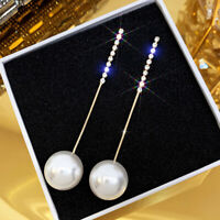 Dainty 8cm long silver tone /& turquoise diamante chain drop earrings
