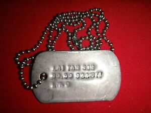 Vietnam War ID Dog Tag + Ball Chain Of An ARVN Soldier Named LAI TAN SON
