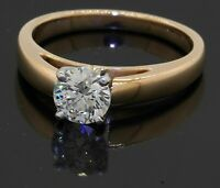 GIA certified Platinum/18K YG 0.90CT diamond solitaire engagement ring size 7.25
