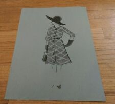 vintage pen ink & watercolor 1960's art Female Fashion Model Belted Coat dress