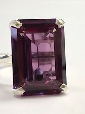 Rectan Syn Alexandrite-color Gem Stone 18x13mm Sterling 925 Silver Cocktail Ring