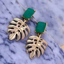 ANTHROPOLOGIE GREEN GOLD DROP DANGLE EARRINGS