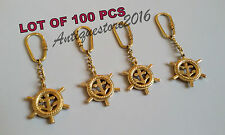Nautical Collectible Solid Brass Finished COMPASS Key Chain Lot Of 100 Pcs Gift
