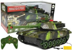 RC Panzer Fernsteuerung Kampfpanzer 2,4GHz Sound LED Grün Tarn Modellbau 45CM