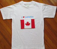 I Love CANADA White Cotton Tee Shirt Youth Size Medium Maple Leaf Flag with Map