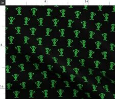 New listing Green Ufo Black Peace Spoonflower Fabric by the Yard