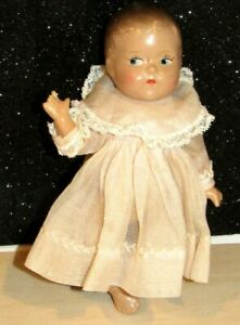 """Antique Tinyette Quint Composition Doll -7"""" by Doll Co. w/Original Pink Dress"""