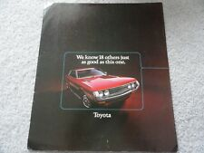 1972 Toyota Corolla, Land Cruiser, Carina, Crown, Celica Sales Brochure