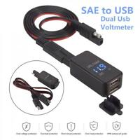 Motorcycle SAE to USB Cable Adapter Dual USB Port GPS Phone Charger&Voltmeter US
