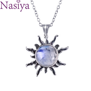 Moonstone 925 Silver Jewelry Pendant Necklaces Sun Geometric Vintage Women Gifts