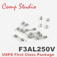 compstudio 10pcs F3AL250V 3A 250V Fast Blow Fuse Glsss 5x20mm US