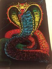 Vintage 1980's Black Light Velvet Poster King Cobra #1607 By Scorpio