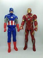 """Hasbro Marvel 12"""" Talking Iron Man & Non Talking Captain America Action Figures"""