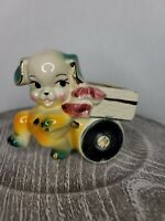 Vtg American Bisque Pottery Puppy & Wagon Planter Gilded Accents Kitchy 1950s