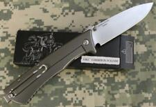 Ontario 1776 Cerberus Folding Knife Gray Titanium Scales D2 Tool Steel Blade NEW