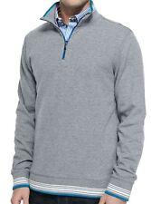 Robert Graham Pipeline Reversible Half Zip Sweater Grey Cotton Sm NEW $198 SALE