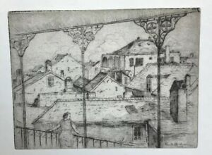 Knute Heldner Dry Point Etching Print French Quarter Rooftops New Orleans 1933