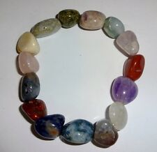 Mixed Chakra Crystal Healing Gemstone Tumbled Beaded Nugget Stretch Bracelet